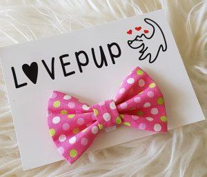 Pink spotty bow tie