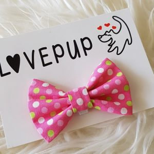 Pink spotty bow tie